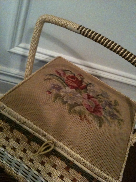 Vintage Wicker Sewing Basket With Legs And By Odetojune On