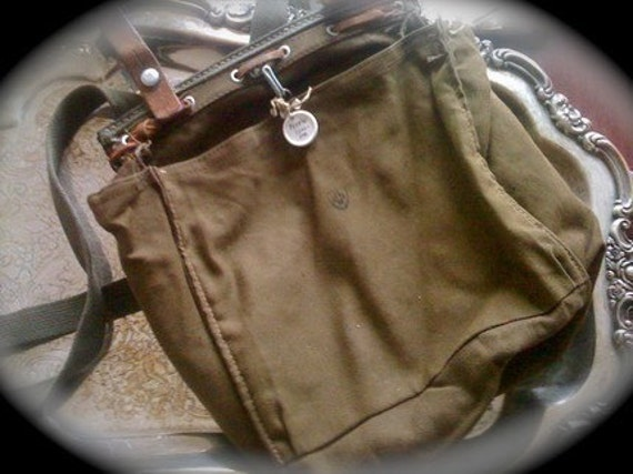 authentic vintage SWISS military bag with leather trim GREAT MARKET bag