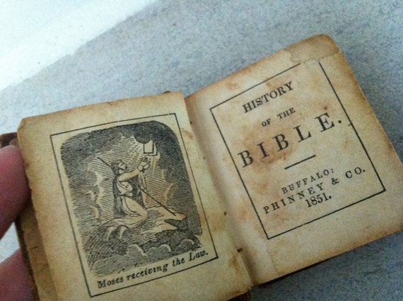 1851- History of the Bible- miniature - leather