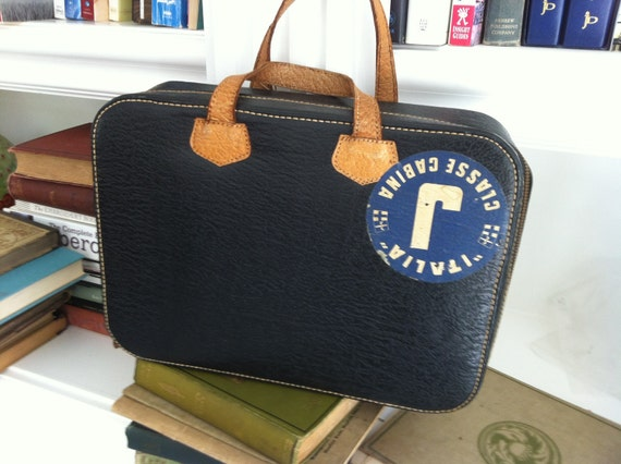 sale -vintage leather suitcase with Italia cruise sticker - carry on