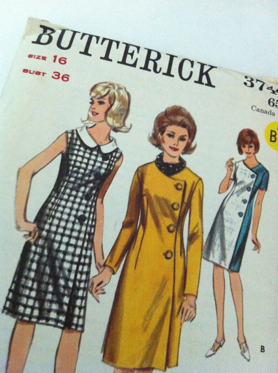 vintage sewing pattern - Butterick 3740 - 1960s- dress and coat dress - size 16