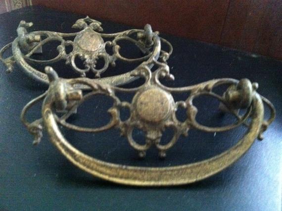 DELAYED SHIPPING . . .set of 2 antique dresser pulls