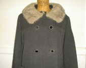vintage 1950s Grey Wool Coat with Mink Collar and Cuffs - size large to extra large