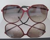 1980's Italian Designer OVERSIZED Sunglasses with Deep Cherry Metal Frames