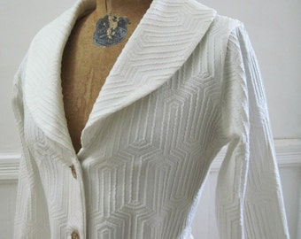sailor chic - vintage Textured White MOD Blazer with wooden buttons - medium to large, m/l