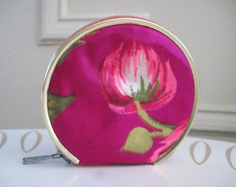 vintage Pink & Fuchsia Satin Floral Mirrored Compact