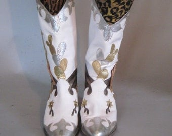 size 6.5 - heehaw - 1980s Gold & Metallic Leather COWBOY Boots by Zalo