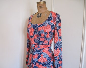 vintage 1970s MOD Navy & Red Patchwork Print Dress from lls Smith for DALANI - size medium to large, m/l