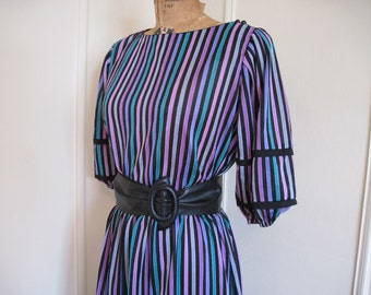 vintage 1980s NEW WAVE Black Striped Secretary Dress - size medium to large, m/l