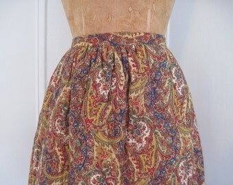 1970s Bohemian Quilted PAISLEY Ruffle MAXI Skirt- vintage size 9, small to medium, s/m