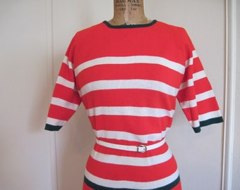 SUPER MOD 60s Striped Knit Dress - red, white, and forest green stripes - vintage size 13, large