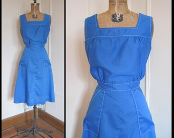 vintage 1960s Bright Royal Blue Sun Dress, size large
