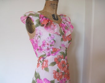 1970s Flirty Chiffon Maxi Dress with ruffles and flowers, perfect for Summer Soirees and Garden Parties, size small to medium