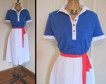 1980s Blue and White NAUTICAL Sailor Dress, vintage size 12 medium to large