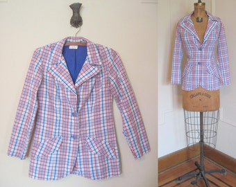 vintage NAUTICAL Red, White, and Blue PLAID Fitted Seersucker BLAZER - small to medium