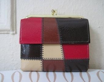 vintage 1960s COLORBLOCK PATCHWORK Baronet Wallet  - Schoolhouse Red, Chocolate Brown, Vanilla Creme, and Black  Vinyl