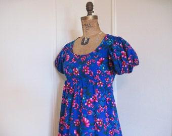 Super Bright vintage Hawaiian Maxi Dress - Indigo, Fuchsia, Yellow, and Blue - size extra small to small