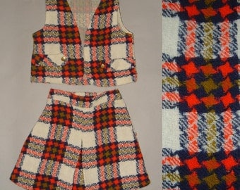 SALE Vintage 60s Little Girls Plaid Skirt and Vest Outfit, age 4 to 6