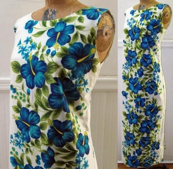 Vintage Blue Floral Hawaiian Cotton Dress M / L