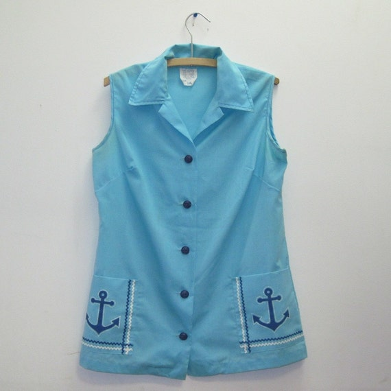 1960's MOD Sailor Blue Button Up Blouse with ANCHOR Pockets, vintage nautical sleeveless shirt, size large
