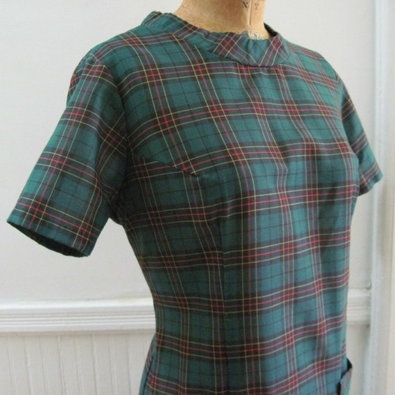 vintage Preppy Green Plaid, Drop Waist Dress lg