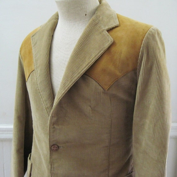 vintage Western Corduroy Sports Coat with Leather Elbow Patches  m/l