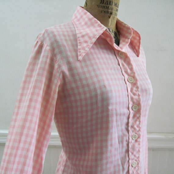 1970s Pink & White Checked, Picnic Plaid, Country Chic, COTTON BLOUSE, vintage size 11/12, large