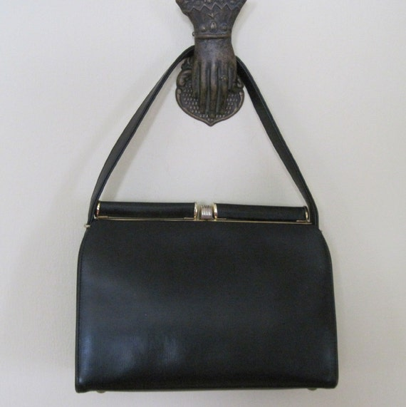 1960s Iconic Coblentz Black Leather Kelly Bag
