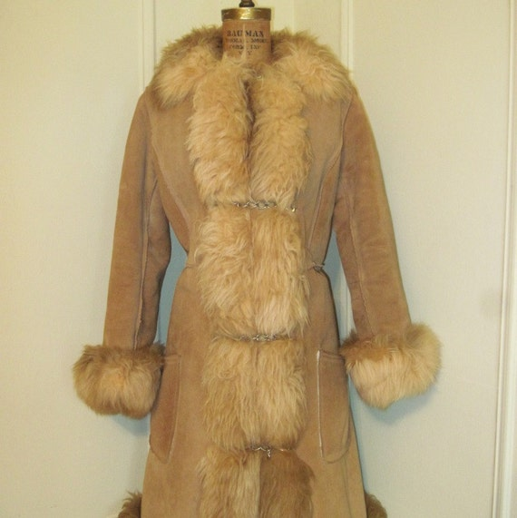 Vintage 70s SHEARLING Russian Princess Coat S/M