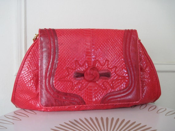 vintage 80s Red Snakeskin Oversized Clutch with optional Shoulder Strap