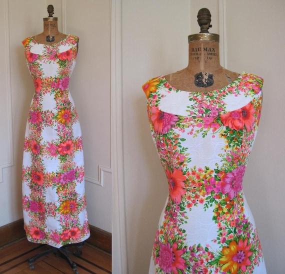 Vintage 60s MOD Floral Hawaiian Maxi Dress m/l