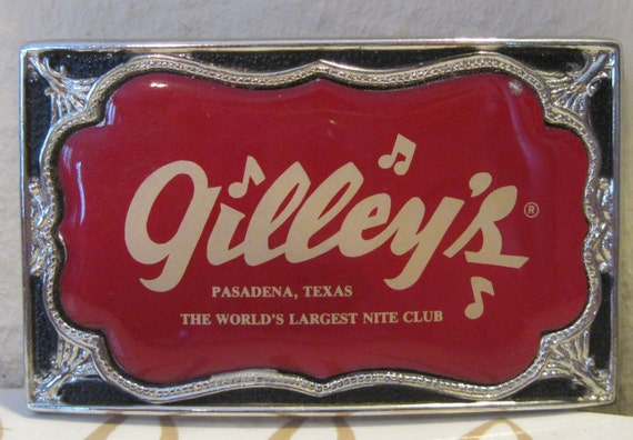 Vintage 80s Gilley S Belt Buckle Honky Tonk Bar From