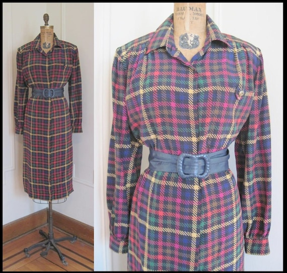 Givenchy Silk Plaid Vintage Dress from the 1980s - vintage size 12, large to extra large, l/xl