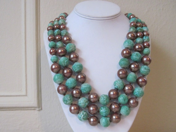 60s Chunky Turquoise and Raku Multi Strand Beaded Cocktail Necklace, stamped Germany