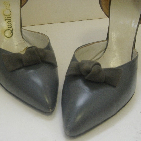 1950's Gray Suede and Leather Pin Up d'Orsay Pumps 8.5