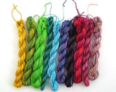 Mystery Bag - 10 assorted mini-skeins of hand dyed cotton embroidery thread