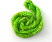 Hand dyed cotton perle 5 embroidery thread, 20m skein - very bright lime green