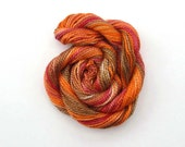 Hand dyed cotton perle 5 embroidery yarn, 20m skein -  burnt orange, red, light brown