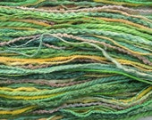 Thread selection, 30m skein of hand dyed yarns - emerald green, jade, yellow, beige