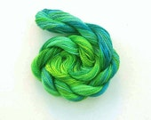 Hand dyed cotton perle 8 embroidery yarn, 30m skein - bright green, emerald green, bright blue, jade