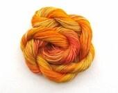 Hand dyed stranded cotton embroidery floss -  20m skein -  dark yellow, orange, tangerine, terracotta