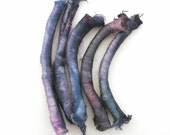 Silk carrier rods - hand dyed - pale violet, lavender, purple, blue, grey, gray
