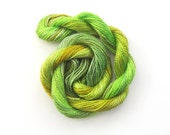 Hand dyed cotton perle 8 embroidery yarn, 30m skein - lime green, sage green, chartreuse, dark yellow
