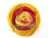 Hand dyed cotton scrim, gauze, 3 piece bundle - light yellow, lemon, dark pink, dark red, maroon, bright yellow