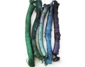 Silk carrier rods, hand dyed - light blue, dark teal, blue green, dark purple