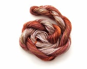 Hand dyed cotton perle 5 embroidery yarn, 20m skein - golden brown, tan, light brown, beige, nut
