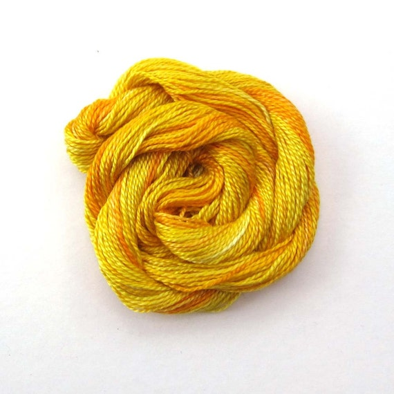 Hand dyed cotton perle 8 embroidery yarn, 30m skein - golden yellow, lemon