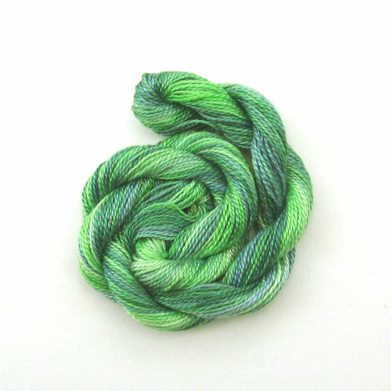 SALE - Hand dyed cotton perle 8 embroidery yarn, 30m skein - light green, emerald green, light jade