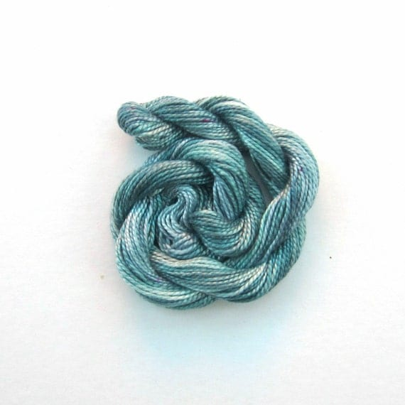 Hand dyed cotton perle 5 embroidery yarn, 20m skein - storm cloud, blue grey, green gray
