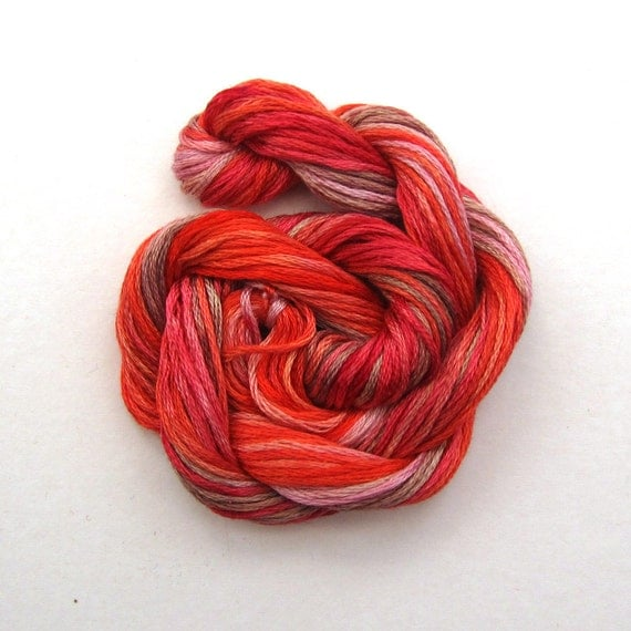 Hand dyed stranded cotton embroidery floss, 20m skein -  red, dark pink, light pink, light brown,